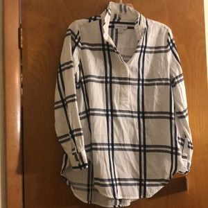NWT! White navy plaid tunic Liz Claiborne shirt